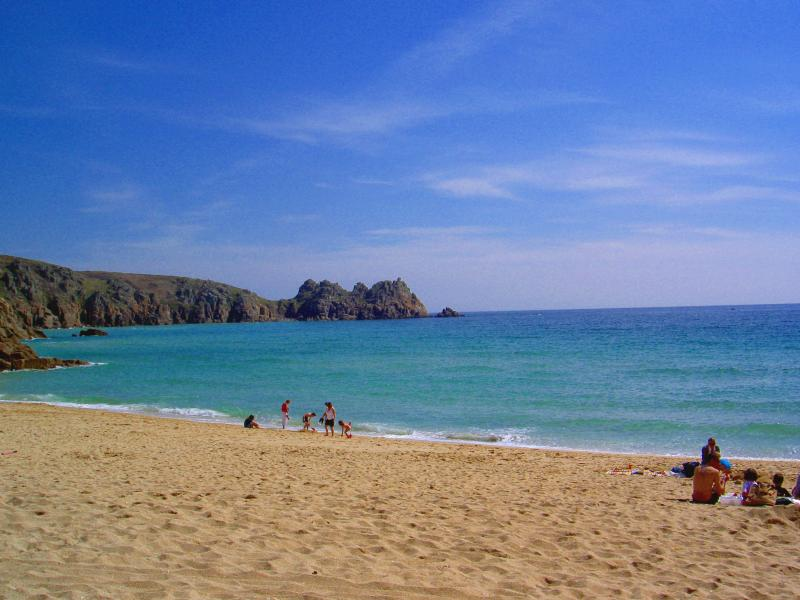 Porthcurno beach in summer