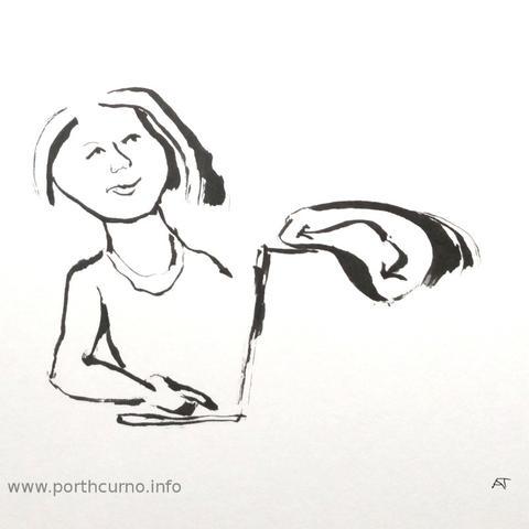 Cornish translator with clock and laptop