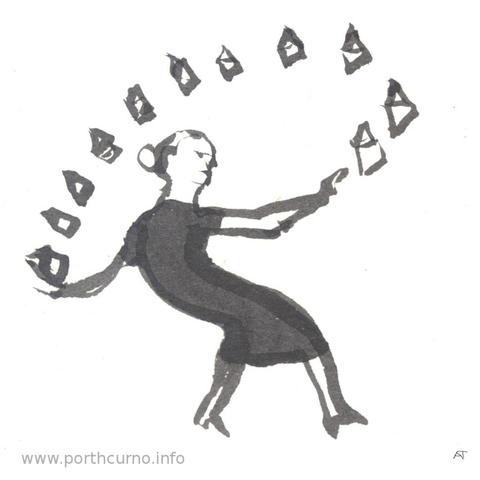 Woman juggling letters