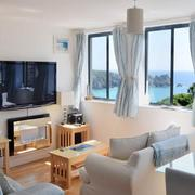 Holiday flat lounge Porthcurno